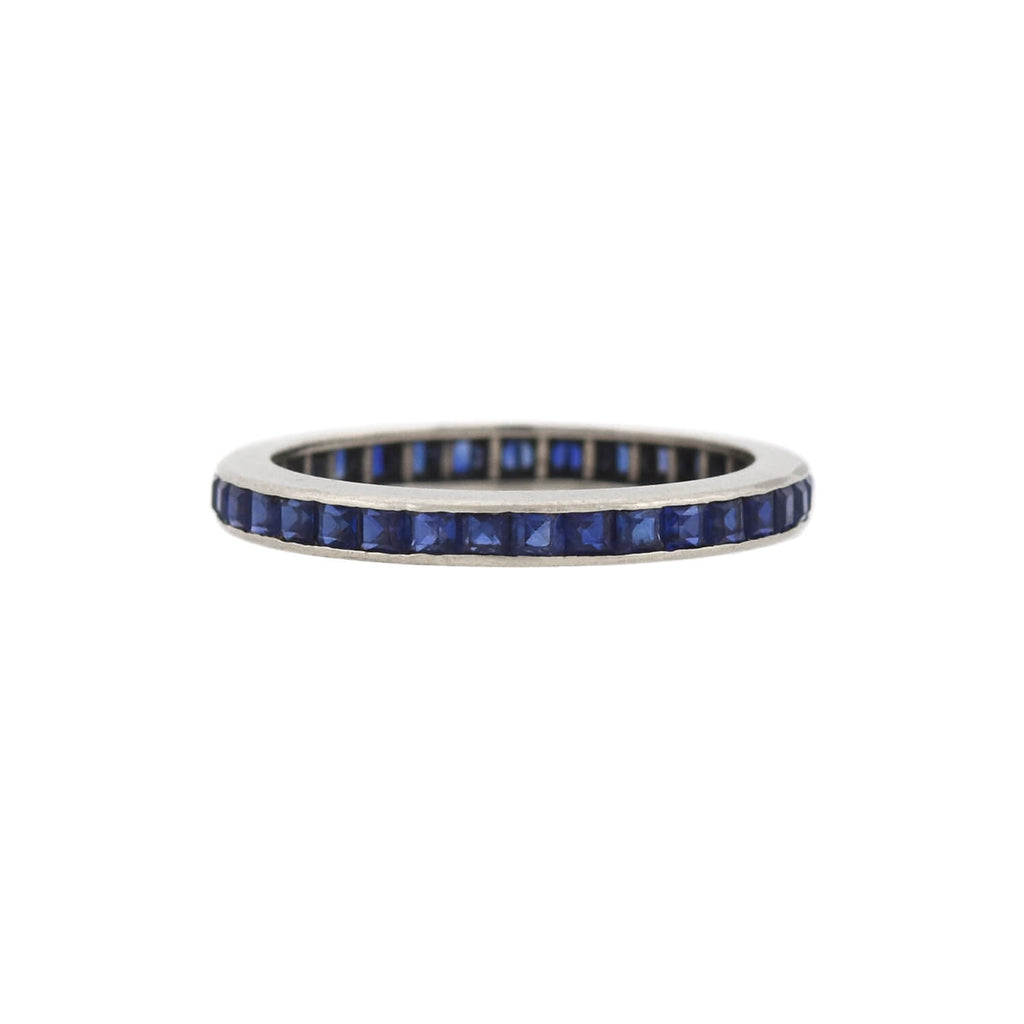 Vintage 14kt White Gold Square Cut Sapphire Eternity Band