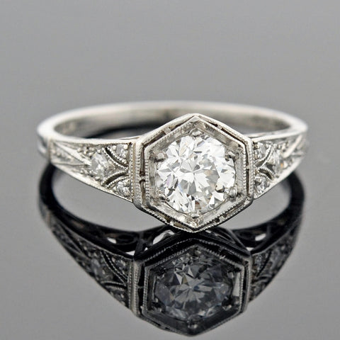 Art Deco Platinum Heart Motif Diamond Engagement Ring 0.60ctw