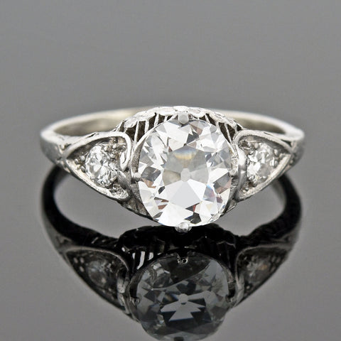 Late Art Deco Platinum + Rare Peruzzi Cut Diamond Engagement Ring 0.75ct