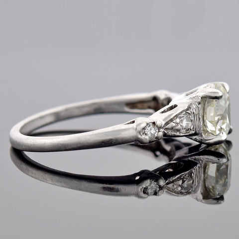 Art Deco Platinum Diamond Engagement Ring 1.01ct center