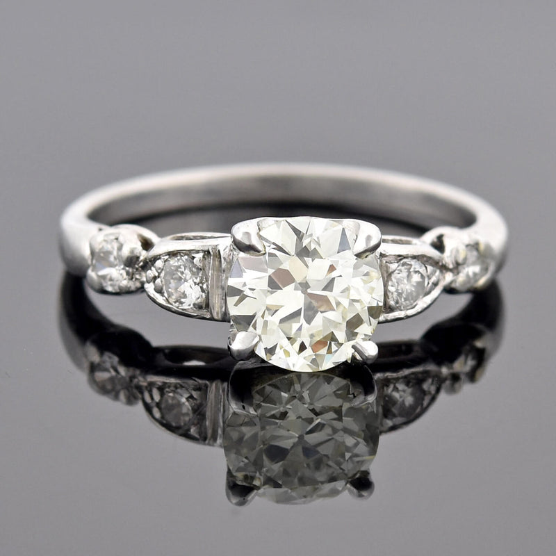 "Edwardian 18kt/Platinum ""Moi et Toi"" Diamond Bypass Ring 1.60ctw"