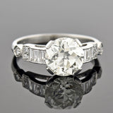 Late Art Deco Platinum Diamond Engagement Ring 2.13ct center