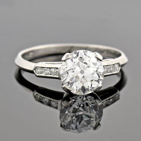 Retro Platinum Diamond Engagement Ring 2.13ct center