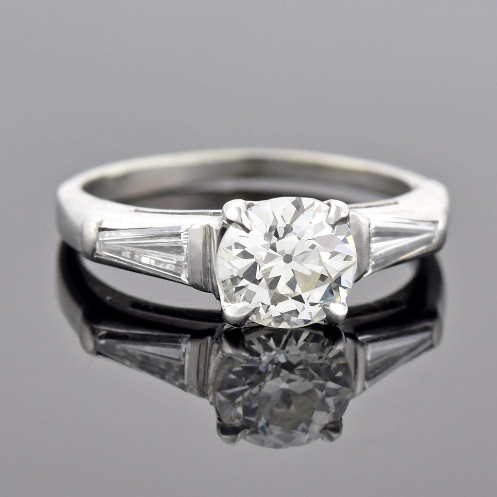 Retro Platinum Diamond Engagement Ring 1.00ct center