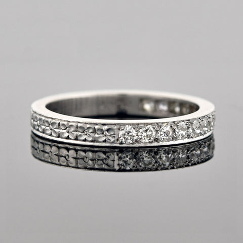 Art Deco Platinum Engraved Mine Cut Diamond Half-Band Eternity Ring 0.70ctw