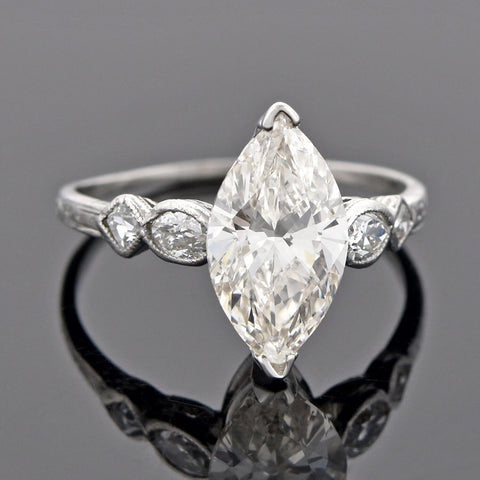 Vintage Platinum Marquise Diamond Engagement Ring 2.02ct