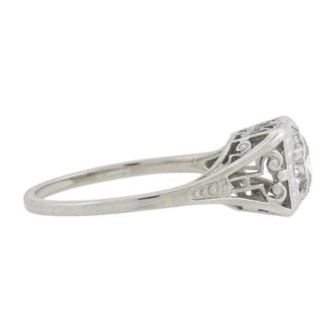 Late Art Deco 18kt Diamond Engagement Ring 0.81ct