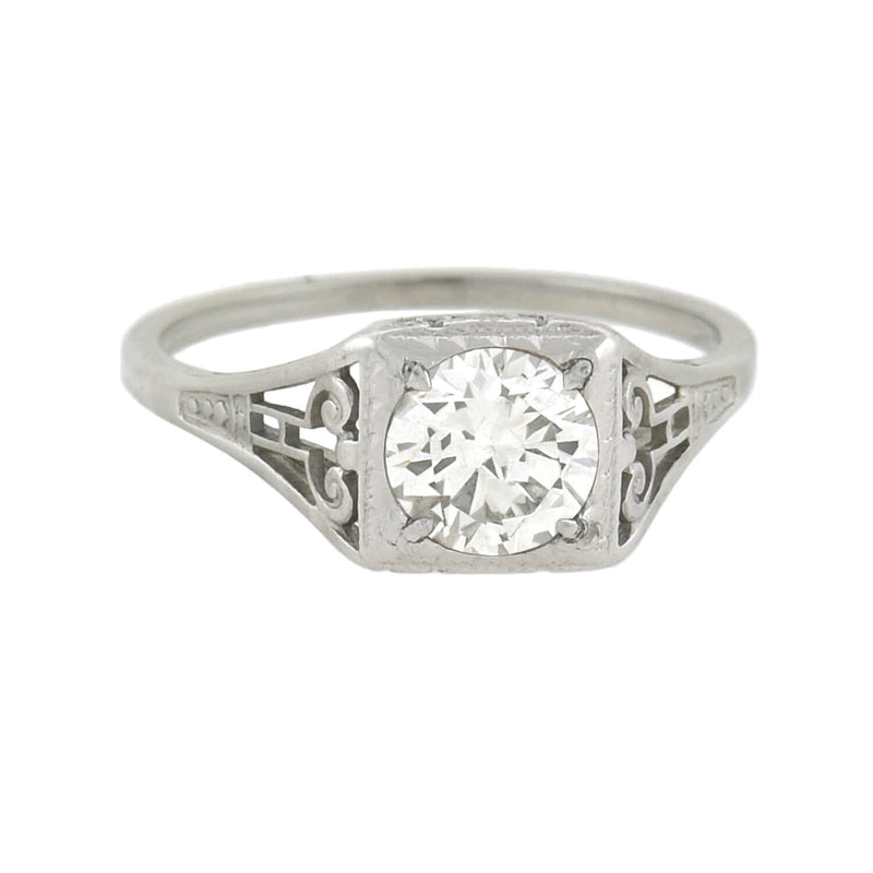 OSTBY & BARTON Art Deco 10kt Diamond Engagement Ring 0.91ct