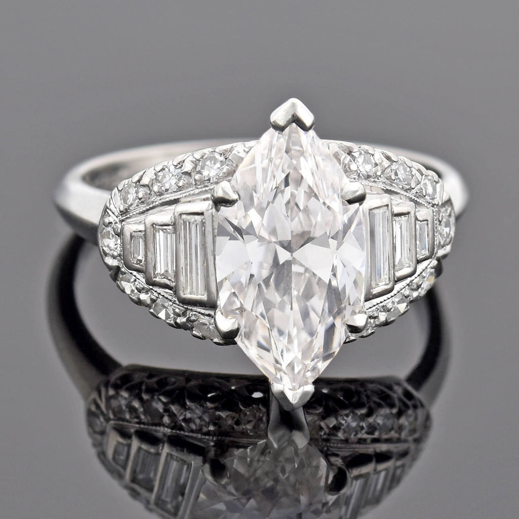Retro Platinum Marquise Diamond Engagement Ring 2.73ct center