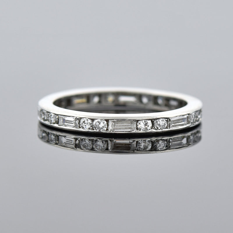 Art Deco Platinum Diamond + Ruby Eternity Band