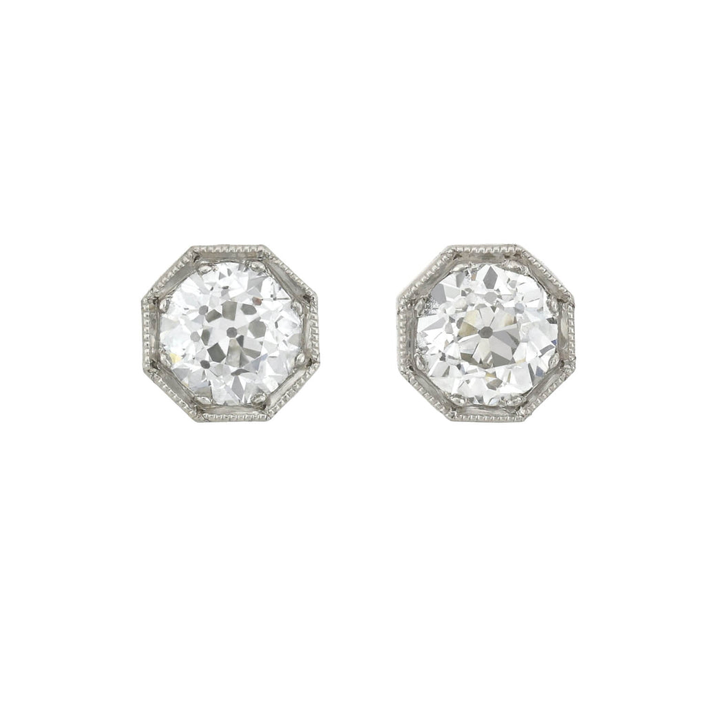 Edwardian Platinum Old European Cut Diamond Stud Earrings 0.70ctw