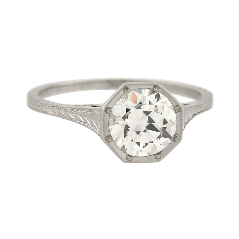 Late Art Deco Platinum Diamond Engagement Ring 1.51ct center