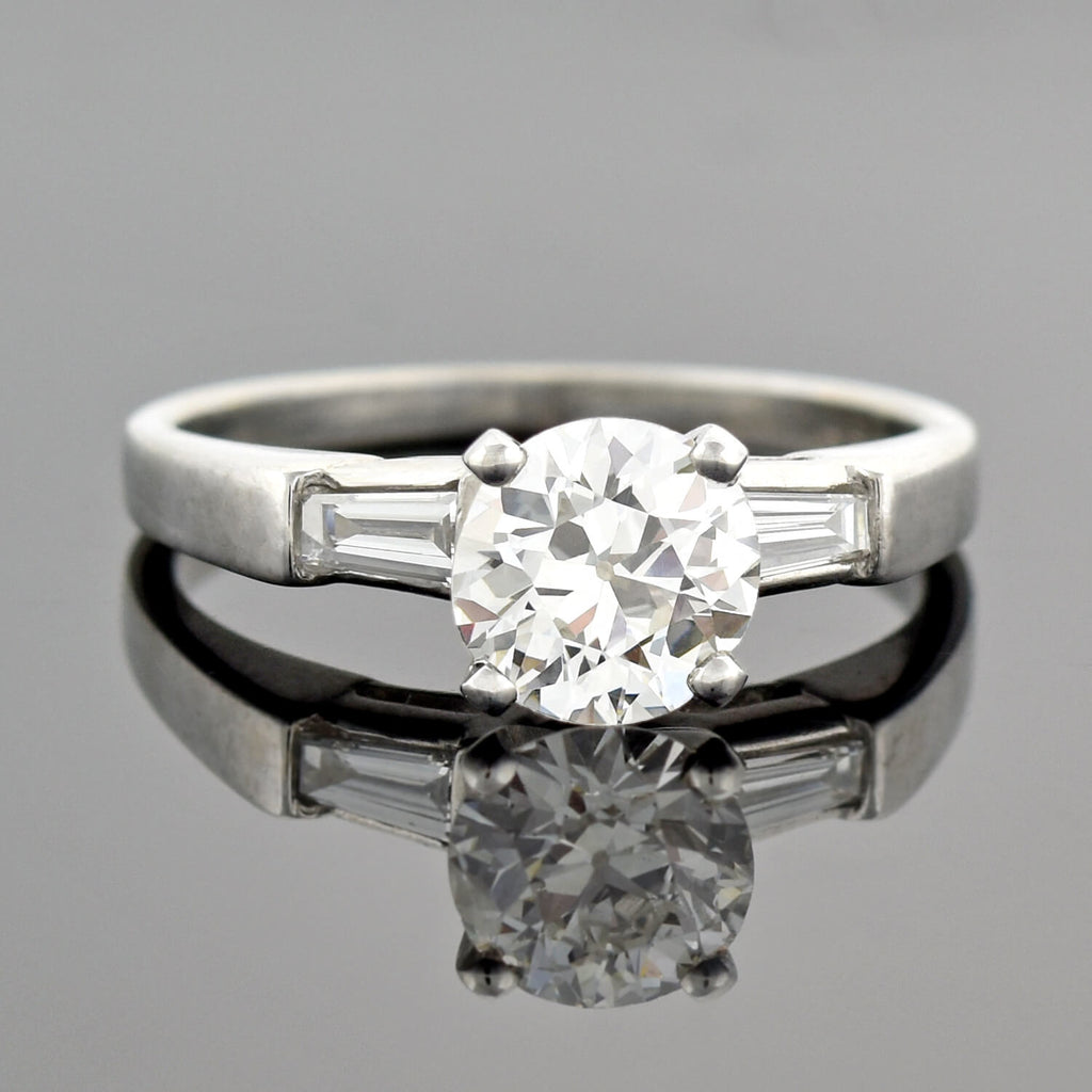 Retro Platinum Diamond Engagement Ring 0.97ct center