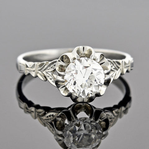 Art Deco 18kt Diamond Engagement Ring 1.10ct