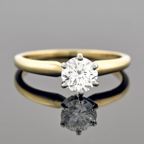 Vintage 14kt Two-Tone Diamond Solitaire Engagement Ring 0.69ctw