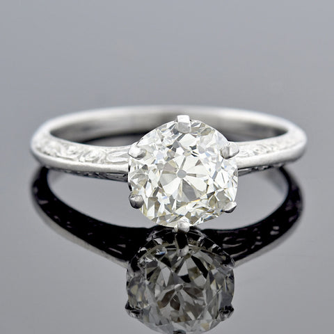 Edwardian Platinum Diamond Solitaire Engagement Ring 1.90ct