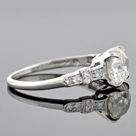 SLOAN & CO. Late Art Deco Platinum Diamond Engagement Ring 1.51ct center