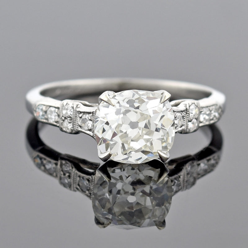 Retro Platinum 1.69ct Pear Cut Diamond Engagement Ring