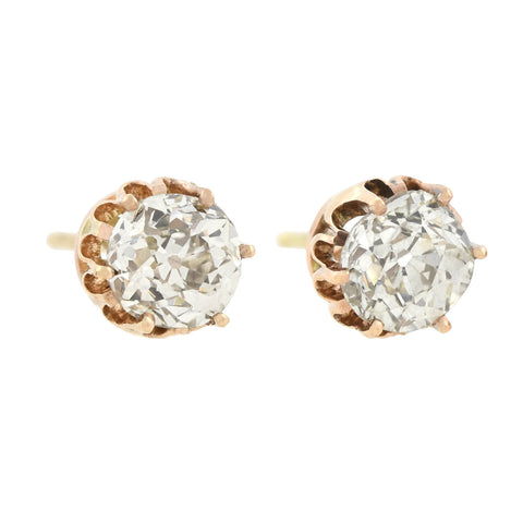 Victorian 14kt Old Mine Cut Diamond Stud Earrings 1.20ctw