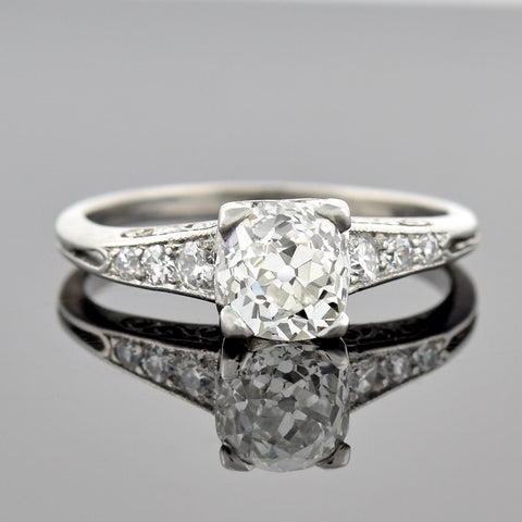 Art Deco Platinum Old Cushion Cut Diamond Engagement Ring 1.02ct center