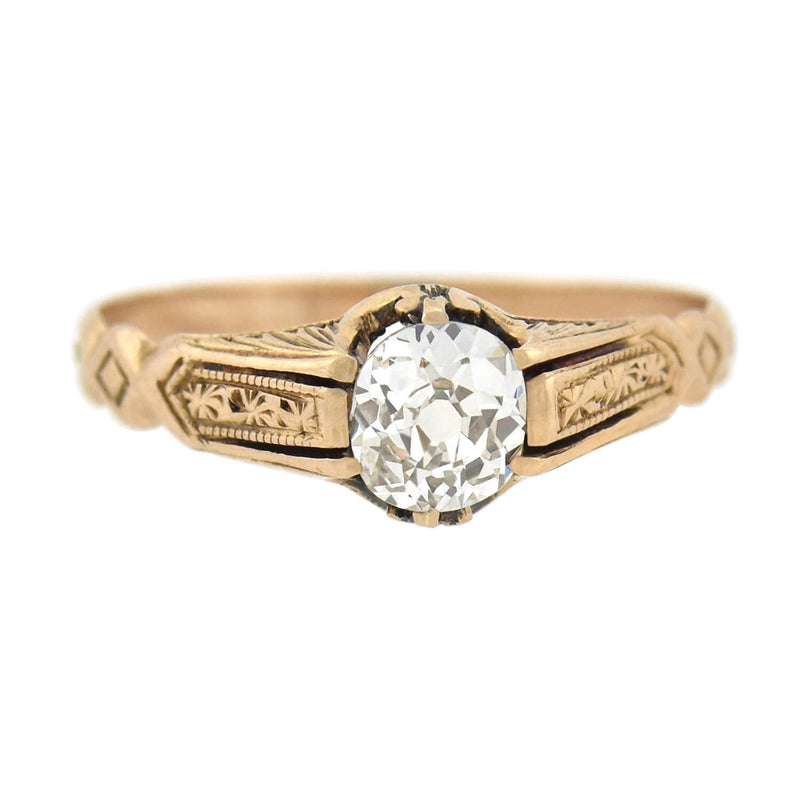 Retro Platinum & Diamond Half-Band Ring .35ct