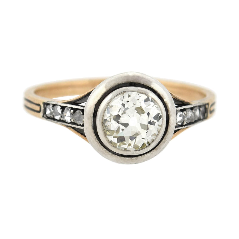 "Victorian Sterling/18kt Moonstone Sapphire + Diamond ""Man in the Moon"" Ring"