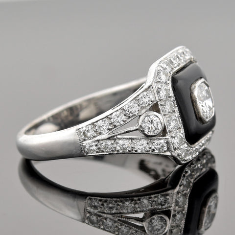 Estate 14kt Diamond + Onyx Ring 0.30ct center