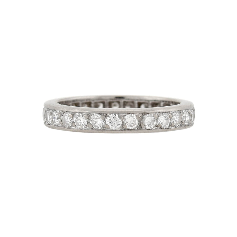 Retro Platinum Baguette + Full Cut Diamond Eternity Band 0.70ctw