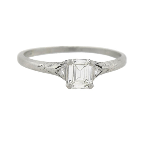 Art Deco Platinum Emerald Cut Diamond Engagement Ring 0.47ct
