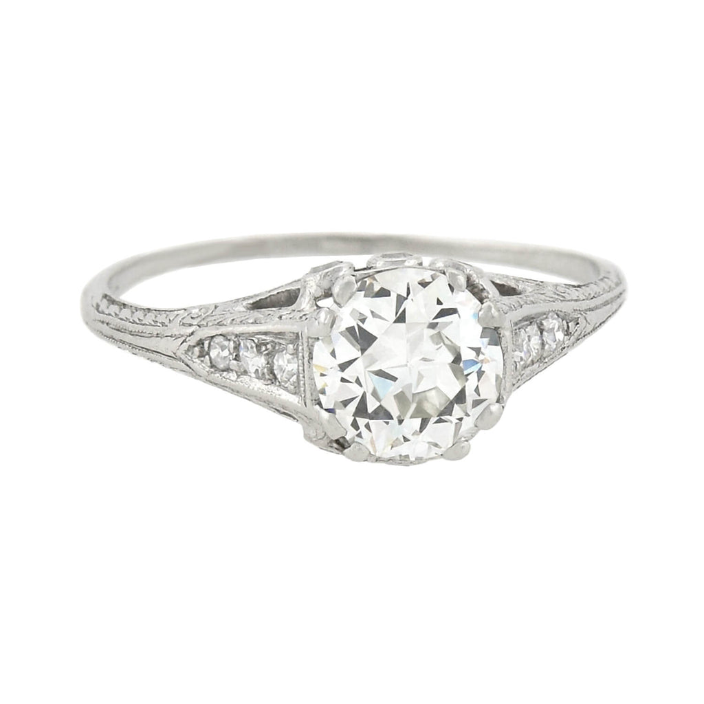 Art Deco Platinum Diamond Engagement Ring 1.01 center