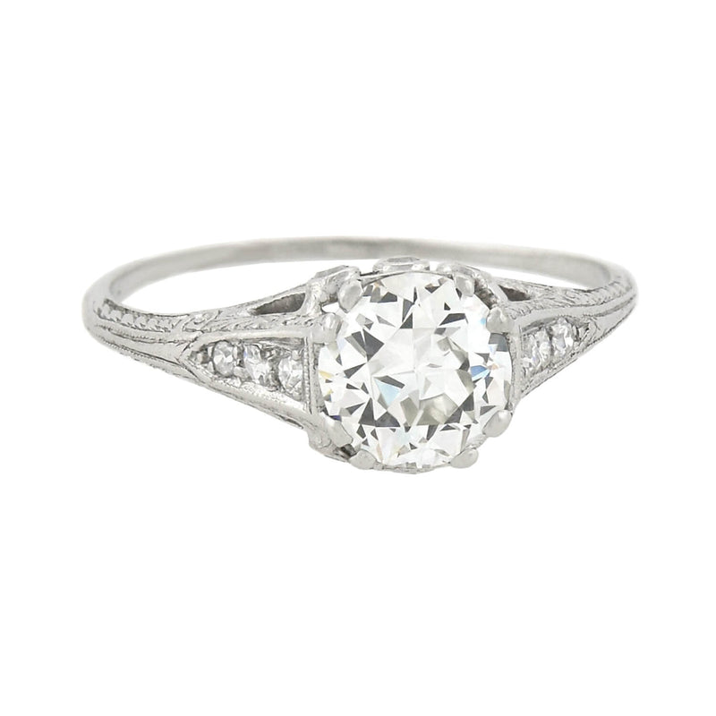 "Art Deco Platinum ""Step-Up"" Diamond Engagement Ring 1.11 center"
