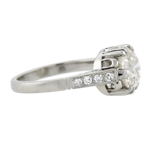 Art Deco Platinum Diamond Engagement Ring 1.80ct center