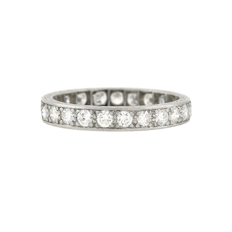 Retro Platinum Diamond Wavy Double Band 1.30ctw