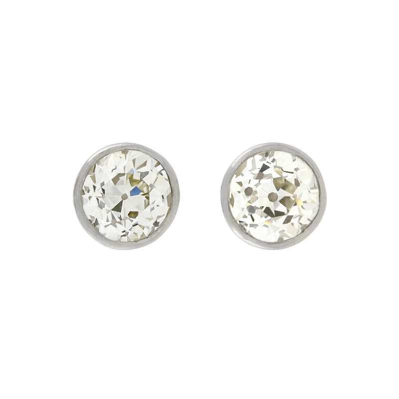 Custom Victorian Style 14kt Cushion Cut Cubic Zirconia Stud Earrings 7.00ctw