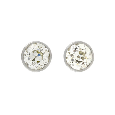 Estate Platinum Old European Cut Diamond Stud Earrings 1.90ctw