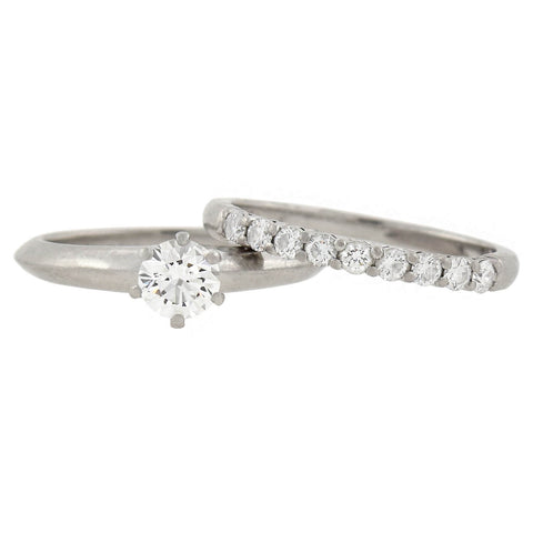 TIFFANY & Co. Estate Platinum Diamond Engagement Ring Set 0.45ct