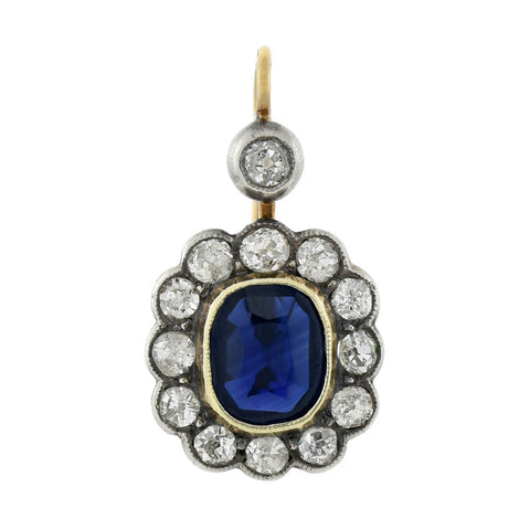 Victorian 14kt/Sterling Natural Sapphire + Diamond Earrings 2.00ctw