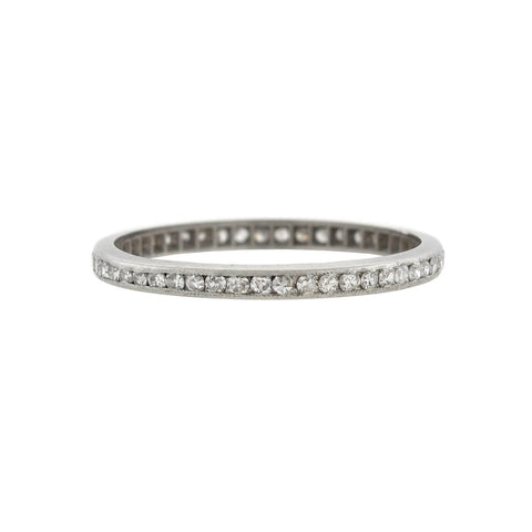 Art Deco Platinum Single Cut Diamond Eternity Band 0.50ctw