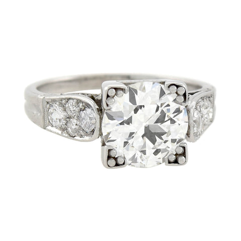 Art Deco Platinum Diamond Engagement Ring 1.90ct