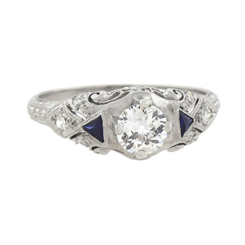 Art Deco Platinum Diamond + Sapphire Engagement Ring 0.41ct