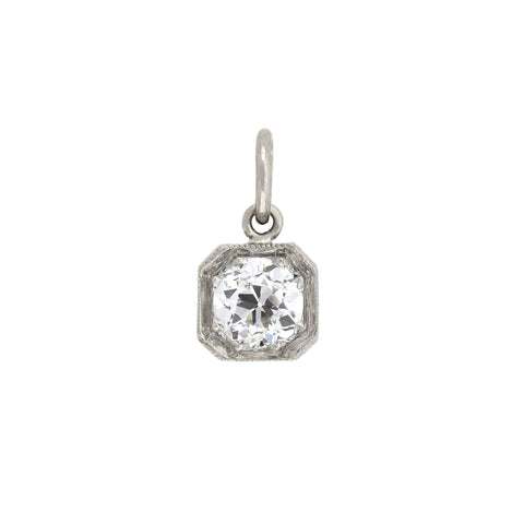 Edwardian Petite Platinum Mine Cut Diamond Pendant 0.40ctw