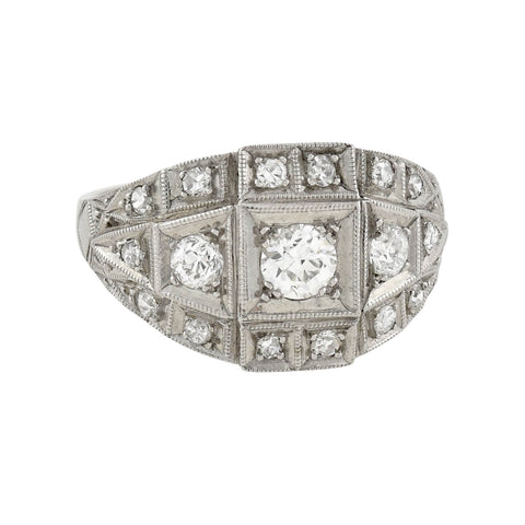 Art Deco Platinum + Diamond Ring 0.53ctw