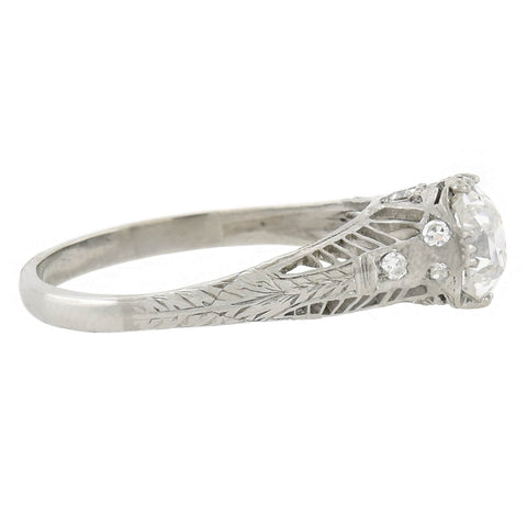 Art Deco Platinum Diamond Engagement Ring 0.83ct