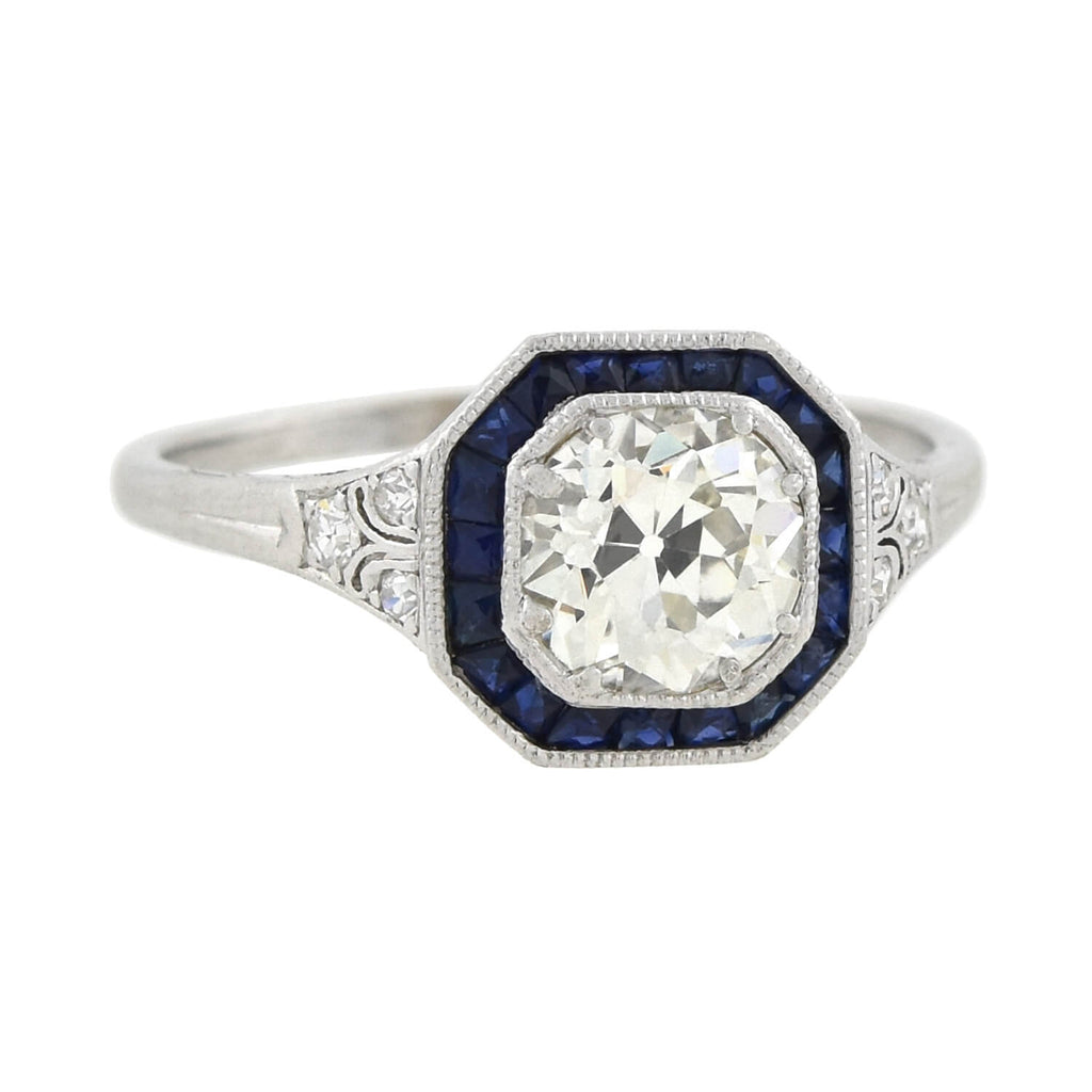 Art Deco Platinum Diamond + Sapphire Engagement Ring 1.50ct center