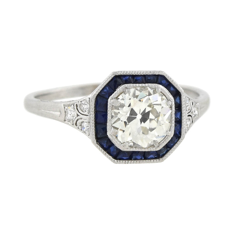 Retro Platinum Diamond Engagement Ring 1.71ct center
