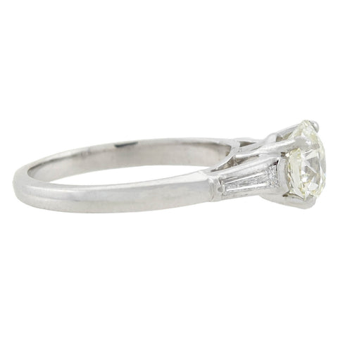 Retro 14kt White Gold Diamond Engagement Ring 1.44ct center