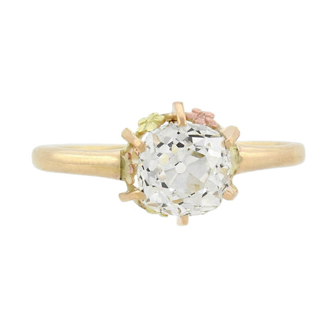 Victorian 14kt Floral Motif Diamond Engagement Ring 1.59ct