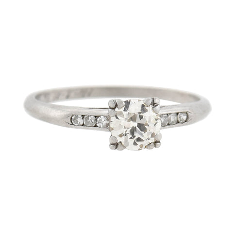Retro Platinum Old European Diamond Engagement Ring 0.65ct