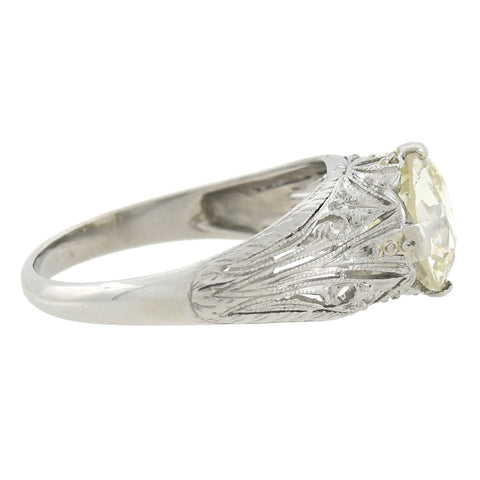 Art Deco Platinum Filigree Diamond Engagement Ring 2.00ctw