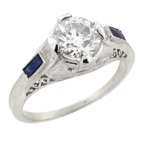 Art Deco 18kt Diamond + Sapphire Engagement Ring 1.30ct